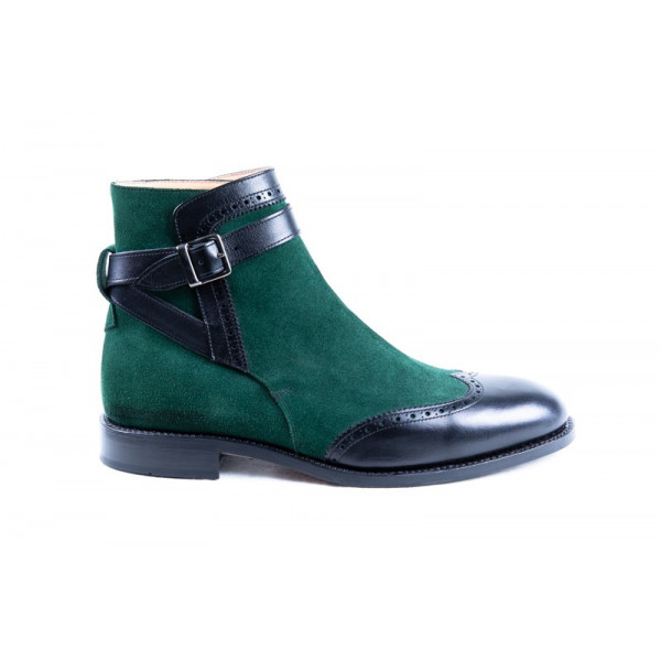 BLACK AND GREEN ANKLE BOOTS MODEL 3117